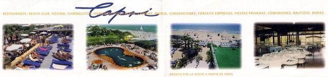 Folleto promocional del Beach Club CAPRI de Gavà Mar (Años 90)