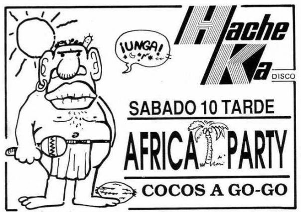 Flyer de la discoteca Hacke Ka de Gavà Mar (Africa Party)